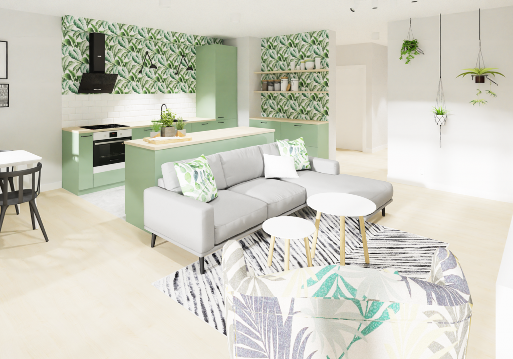 Projekt salonu z aneksem w stylu urban jungle