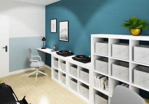 Domowe biuro z miejscem na gramofon i płyty