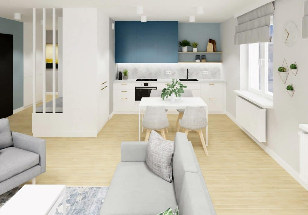 Salon z aneksem kuchennym w stylu nowoczesnym